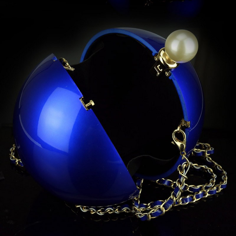 Pearl round bag chain ball party black blue pink gold purses and handbags bridal purse clutch perola white wedding bag XA1111A (4)