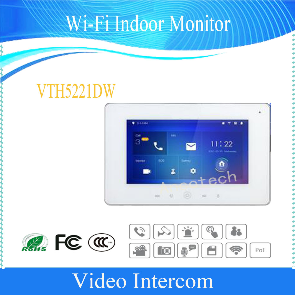 цены Free Shipping DAHUA Video Intercom 7inches Wi-Fi Indoor Monitor without Logo VTH5221D/VTH5221DW