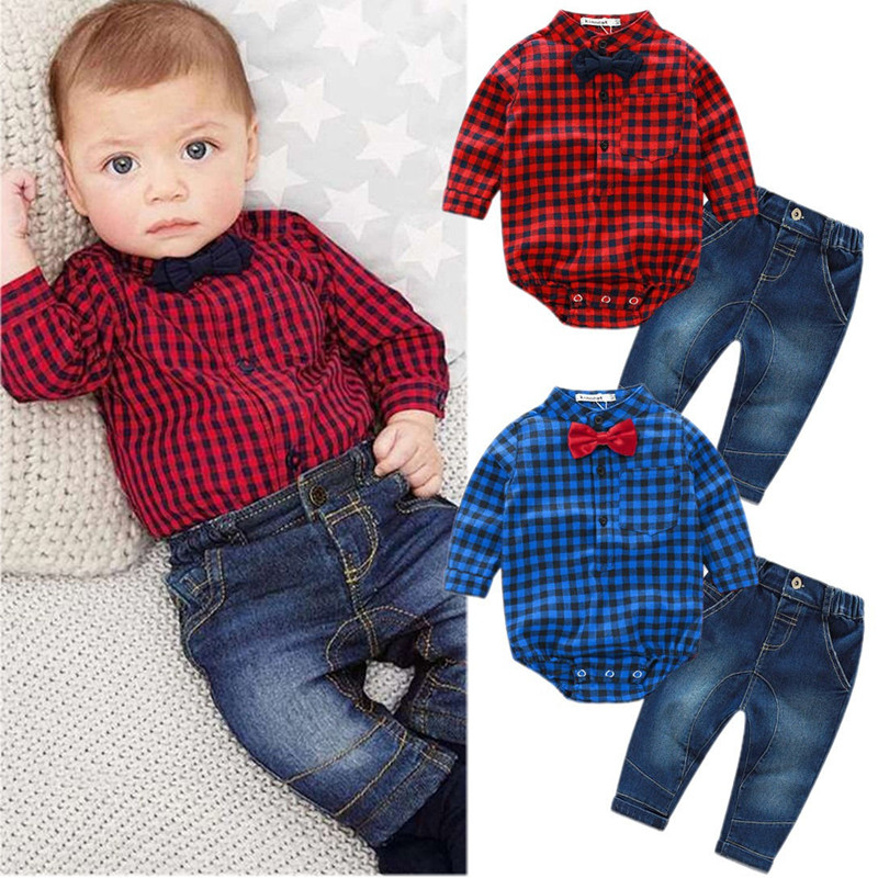 Toddler Kids Newborn Baby Boy Clothes Long Sleeve Plaid Romper Bodysuit Tops Shirt +Jeans Denim Pants 2PCS Outfit Set US fashion 2pcs set newborn baby girls jumpsuit toddler girls flower pattern outfit clothes romper bodysuit pants