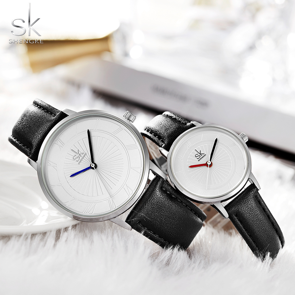 Shengke Brand Quartz Watch Lovers Watch Pair Men Women Ladies Couples Waterproof Quartz Watches Set Wristwatches Femininos(China)