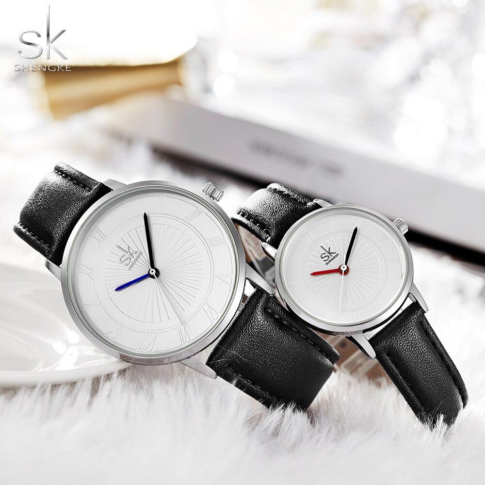 Shengke TOP Brand Quartz Watch Lovers Watch Pair Men Women Ladies Couples Waterproof Quartz Watches Set Wristwatches Femininos