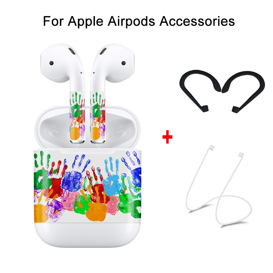 A Set of Accessories for Apple AirPods,DIY Protector Skin Sticker& Anti Lost Strap& Ear Hook for Air Pods Bluetooth Earphone
