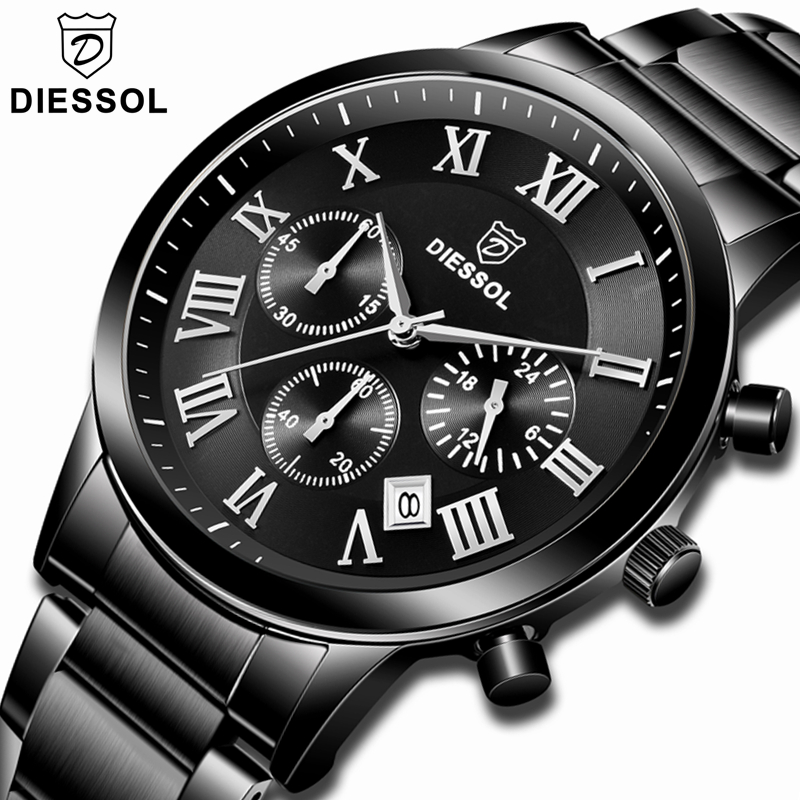 DIESSOL Mens Watches Top Brand Luxury Casual Business Quartz Watch Men Full Steel Waterproof Sport Wrist Watch Relogio Masculino-in Quartz Watches from Watches    1