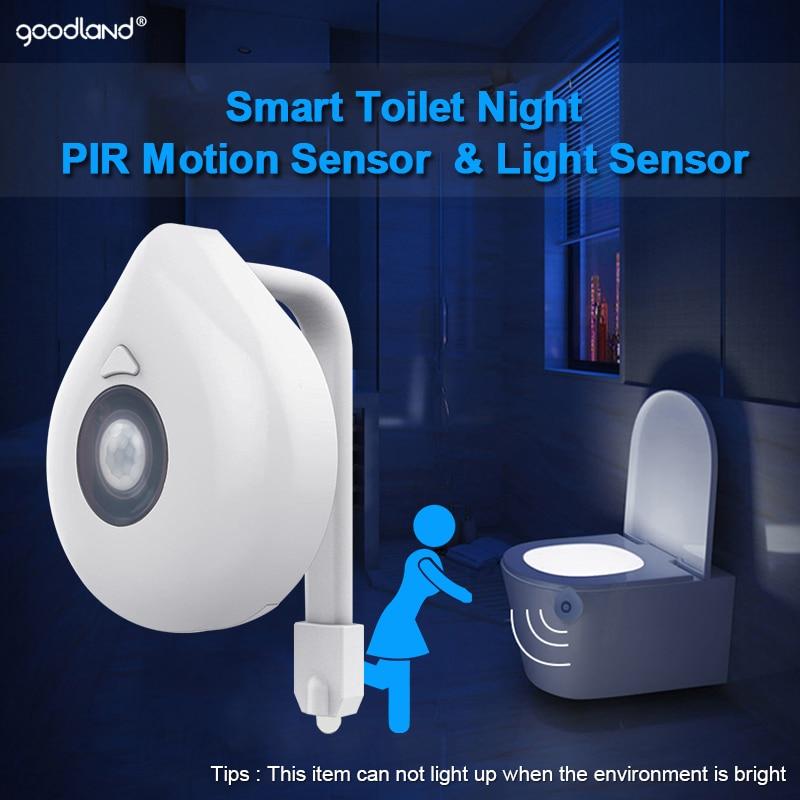 Goodland LED Toilet Light PIR Motion Sensor Night Lamp 8 Colors Backlight WC Toilet Bowl Seat Bathroom Night light for Children 5