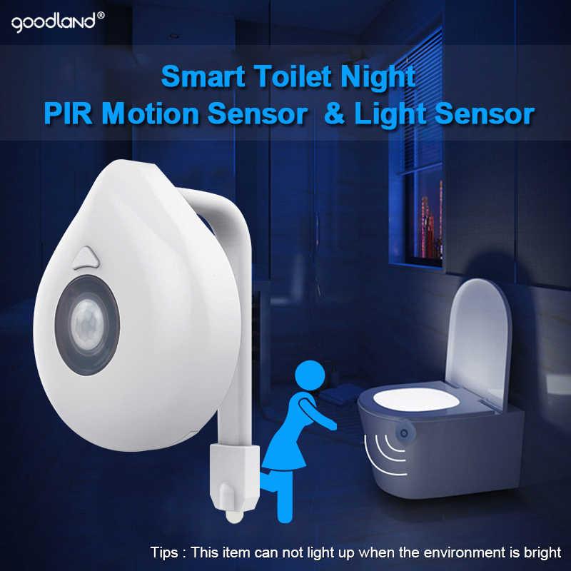 "Goodland LED אסלה אור PIR חיישן תנועת לילה מנורת 8 צבעים תאורה אחורית בב""ש אסלת מושב אמבטיה לילה אור עבור ילדים"