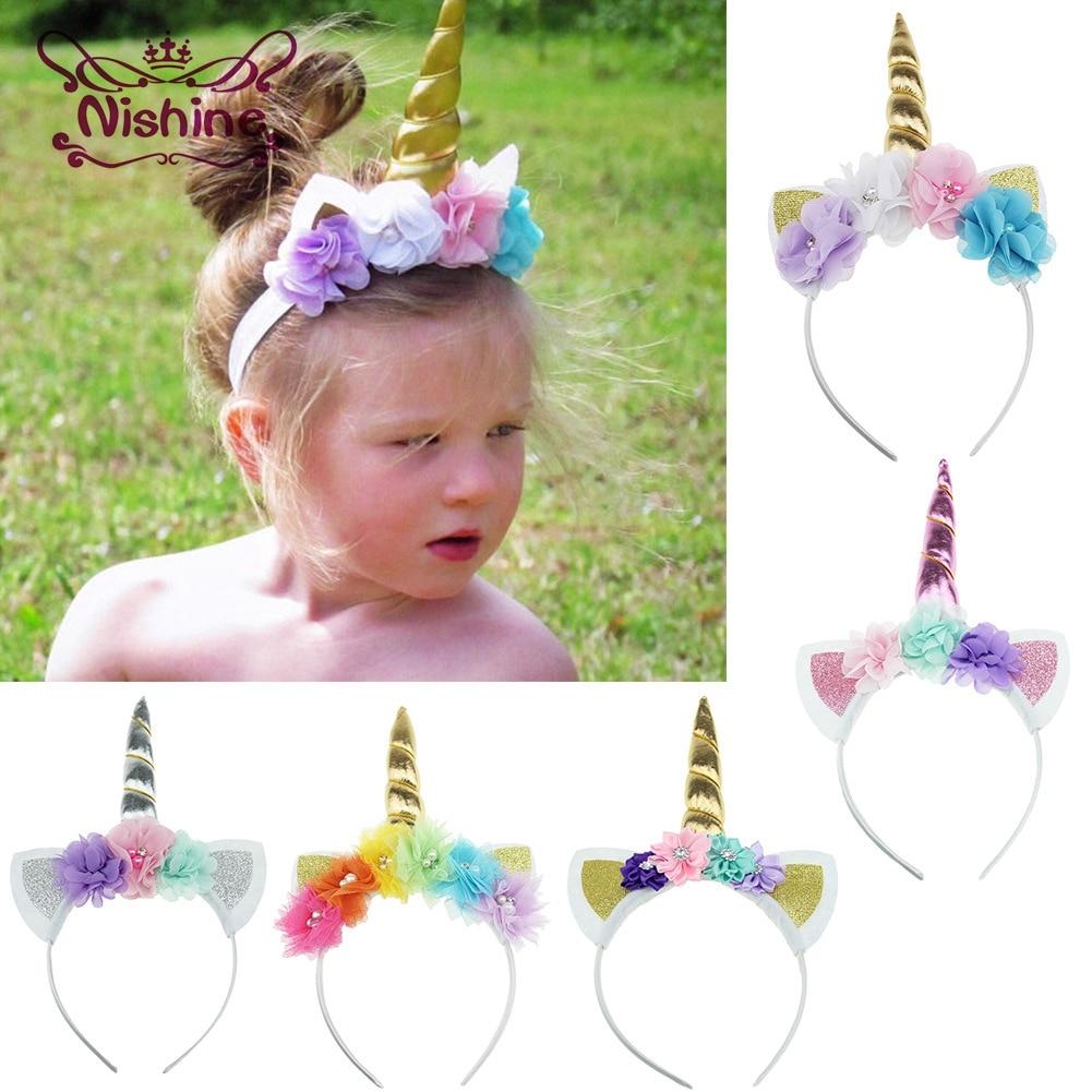 Nishine New Girls Unicorn Horn Hairband Chiffon Mesh Flowers Children   Headwear   Birthday Gifts Photo Props Hair Accessories