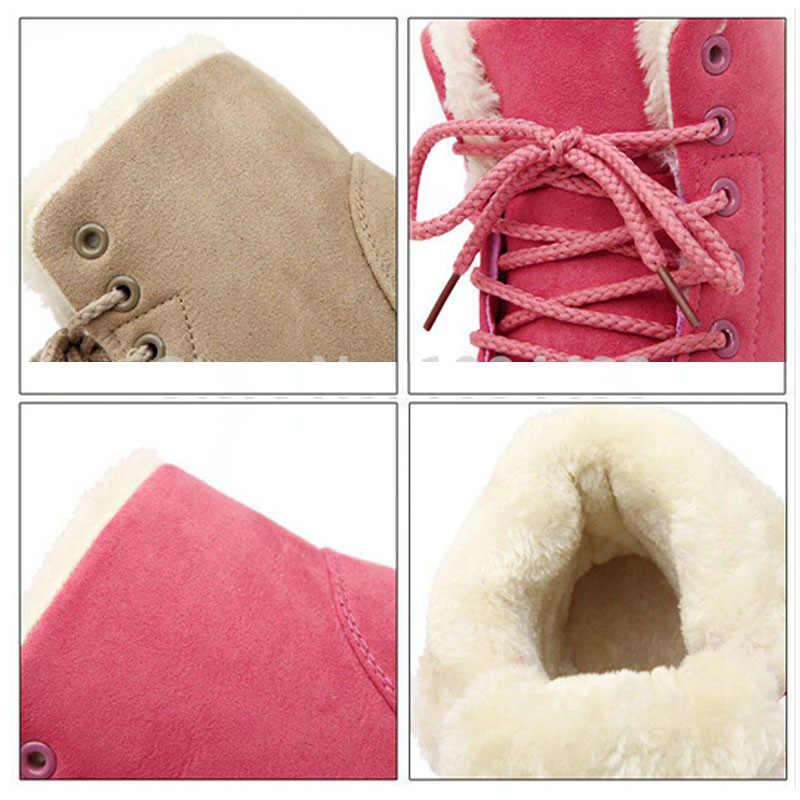 Untuk Wanita Hangat Musim Dingin Boots Fashion Wanita Sepatu Wanita Faux Suede Ankle Boots untuk Wanita Pasang Kaos Mujer Mewah Insole Salju sepatu Bot