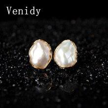 Venidy Real Baroque Freshwater Pearl Stud Earrings Jewelry,925 Sterling Silver Fine Jewelry Earrings Stud Women Party Wedding