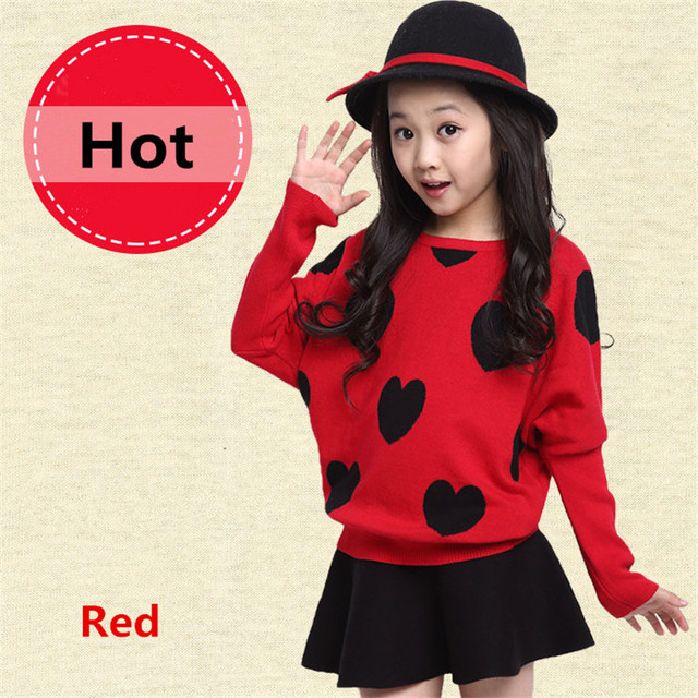 High Quality Girls Heart-Shaped Printing Sweaters New Children's Autumn Winter Warm Clothes Bat Sleeve Fashion Casual Sweaters