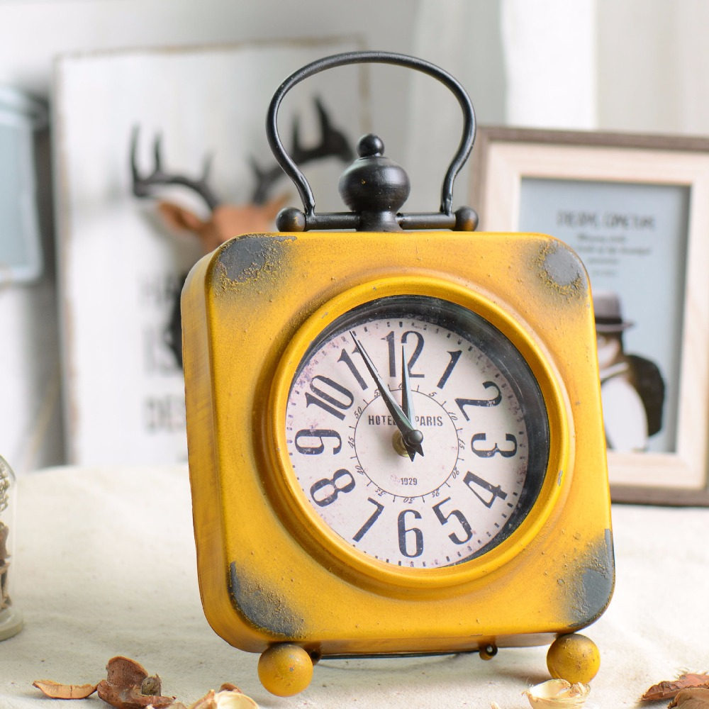 Vintage Alarm Clock Craft Metal Iron Alarm Clock Ornaments Creative Clock Home Furnishing Clock Birthday Gifts Home Decoration