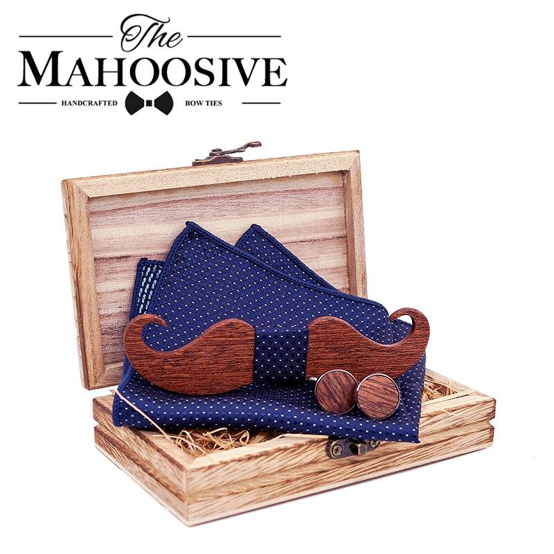 Mustache Wood Bowtie Handkerchief Cufflinks Sets For Mens Suit Wooden Bow Tie Dropshipping Bow Tie Bowknots Cravat
