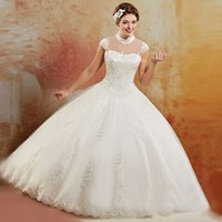 2018 Vestidos 15 anos Princess High Neck Sheer Crystals Beading Chain White Quinceanera Dresses masquerade ball gowns