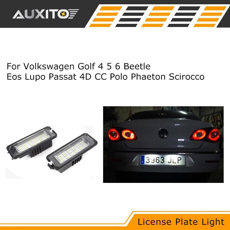 2шт светодиодные номер номерного знака свет лампы для Volkswagen VW Поло Гольф Жук ЭОС 4 5 6 Лупо Пассат 4Д ГК Фаэтон Сирокко