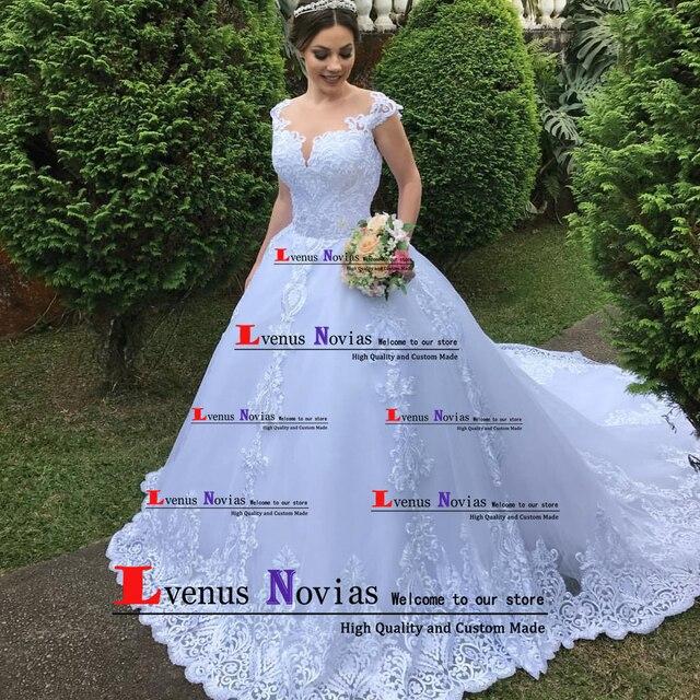 Vestidos De Noiva China Vestidos de Noiva Lindo Laço Branco Apliques vestido de Baile Vestido de Noiva 2019 Vestidos de Noiva Robe De Mariee