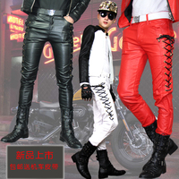 2014 New Fashion Winter Personality Mens Casual Leather Pants Male Skinny Slim Red Leather Joggers For