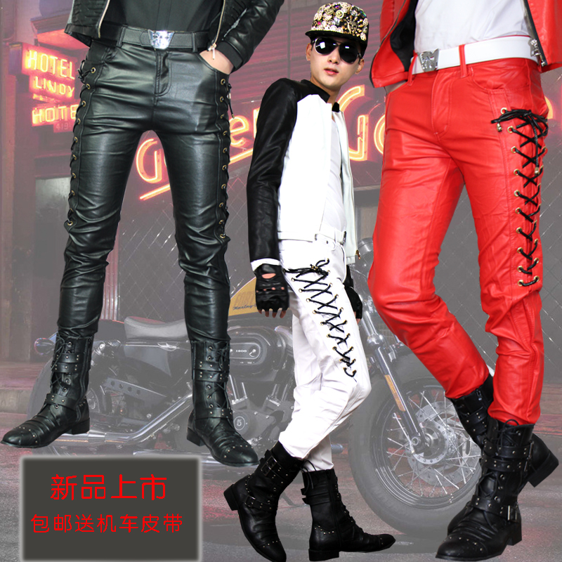 2014 New Fashion Winter Personality Mens Casual Leather Pants Male Skinny Slim Red Leather Joggers For Men High Quality