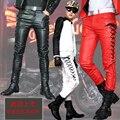 2014 Nova Moda Inverno Personalidade Dos Homens Casuais Calças De Couro Masculino Magro Magro Corredores De Couro Vermelho Para Os Homens de Alta Qualidade