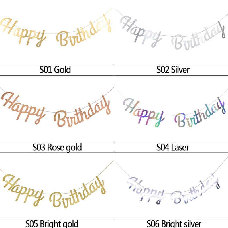 Banner de decoración de Feliz cumpleaños de oro rosa, primer cumpleaños de niña y niño, fiesta para niños y adultos, banderines de tela, guirnalda de un año