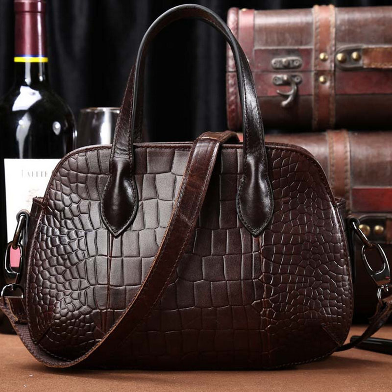 Genuine Leather Vintage Women Bag Messenger Shoulder Tote Hand Bag Crocodile Pattern Luxury Casual Female Cross Body Handbags 2018 new women fashion genuine cow leather luxury ol style handbags female brand shoulder bag casual tote cross body bag