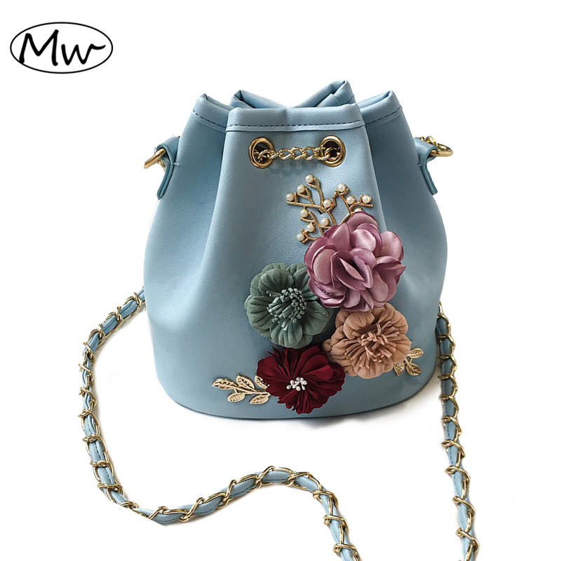 Moon Wood Fashion flower bucket bag mini chain shoulder bag handbag 2018 new female messenger bag crossbody bags for women sac luxury flower fashion design pu leather women s chain purse shoulder bag handbag female crossbody mini messenger bag 3 colors