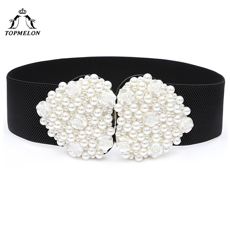 TOPMELON Women's Elastic Belt Floral Beading Solid Belts Wide Waist Slimming Buckle Heart Shape Strap for Dress