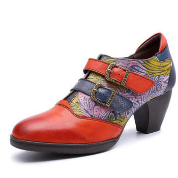 Handmade Square Heel Pumps Genuine Leather Shoes For Women Luxury Quality Med Heels Spanish Style Orange Four Seasons Shoes