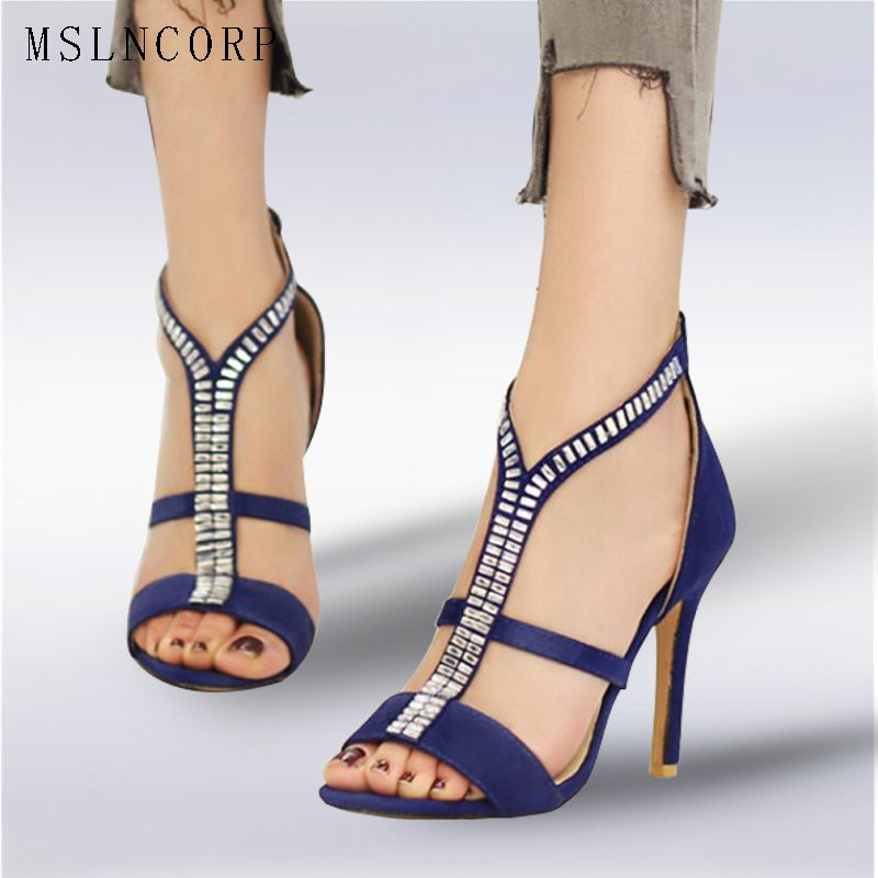 plus size 34-46 Women Gladiator Sandals Summer Peep Toe Sandalias High Heels Shoes Woman Zipper Crystal Rhinestone Party Wedding yougle 550 paracord paracord parachute cord lanyard rope tent guyline mil spec type iii 7 strand core 50 100 ft 215 colors