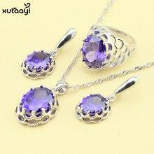 XUTAAYI Púrpura Creado diseño Sistemas de la Joyería Amethyst de La Manera de Plata Sterling Collar Anillos Pendientes Joyería de La Boda