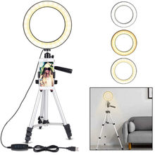 7.9-inch Dimmable LED Ring Light Selfie Ring Light Video Ring Light Mirror Tripod Web Celebrity Live Fill Light Phone Bracket(China)