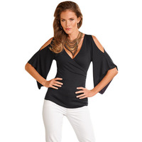 Europe Summer Simple Fashion V Collar Ruffles Crossover Trumpet Sleeve Blouse 25869 Tight