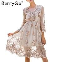 BerryGo V Neck Elegant Long Sleeve Sequin Party Dresses Women Sexy Mesh Casual Long Dress Female