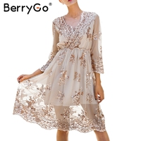 BerryGo V Neck Elegant Long Sleeve Sequin Party Dresses Women Sexy Mesh Casual Long Dress Female