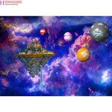 Diamond Painting Beautiful Mysterious Starry Sky and Cosmic Landscape DIY 5D Diamond Embroidery Solar System Universe Home Decor(China)