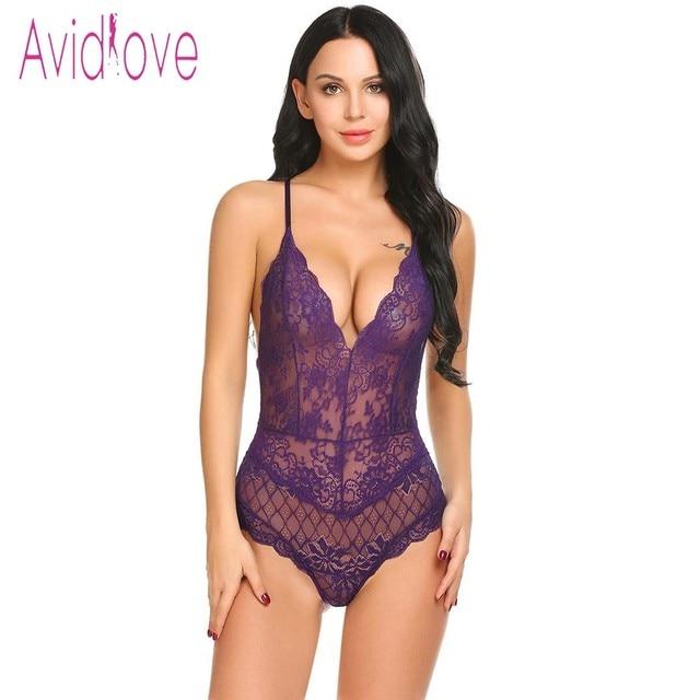 Avidlove New Lady Lingerie Sexy Hot Erotic Teddy Bodysuit Women Lace Spaghetti Strap Chemise Underwear Langeri Porn Sex Costumes 2