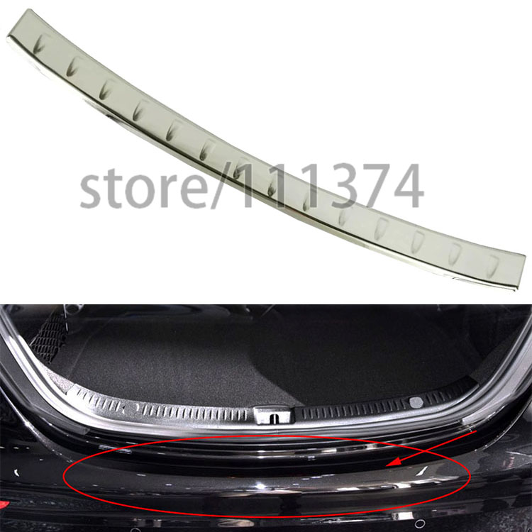 ФОТО Nulla Rear Boot Bumper Guard Plate Cover frame Cover trim For Mercedes benz E class 2016 chrome Stick Car Styling LHD 1 pcs