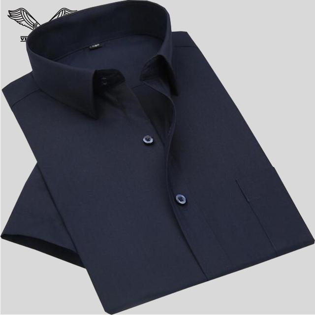 Camisa dos homens 2017 Nova Marca Uomo Camicia Algodão de Manga Curta de Verão Estilo Casual Camisas Slim Fit Masculino Vestido Big Size S-5XL N970