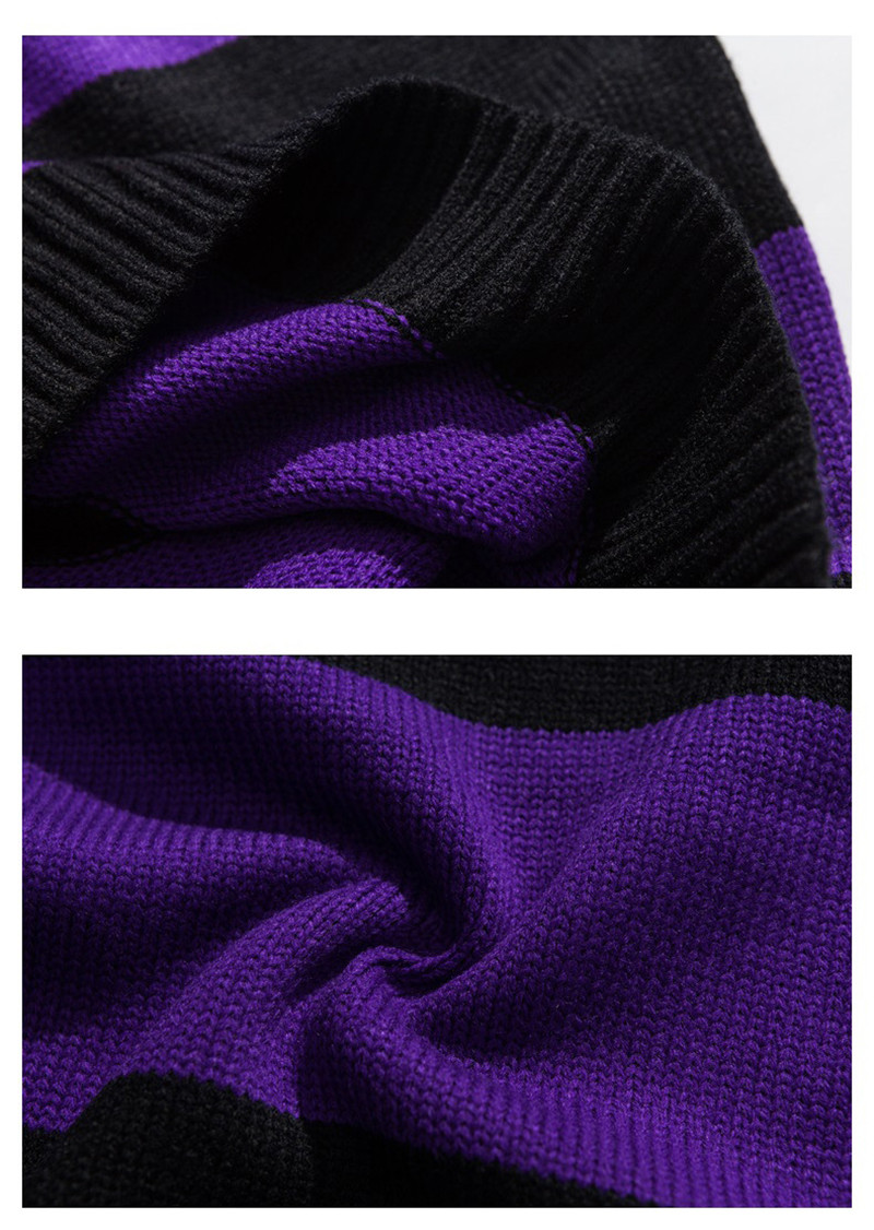 Knitted Japanese Harajuku Hip Hope Letter Pattern Sweater for Men Urban Boys Knit Streetwear Striped Pullover Jumper Plus Size 12