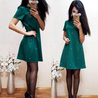 2018 Summer New Women Studded Beaded Slim A-Line Dress Casual O-neck Short Sleeve Ladies Sweet Party Mini Vestidos