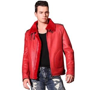 Image 1 - Quality Thick sheepskin coat shearling fur coat Male Formal Red Shearling Clothing genuine shearling coat for men Outwear