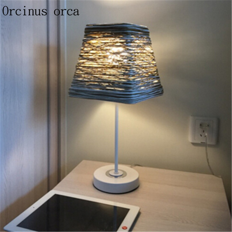 Nordic simple modern literary  bedside table lamp  creative fashion warm Postage free free shipping modern dining table designs discount lamp shades