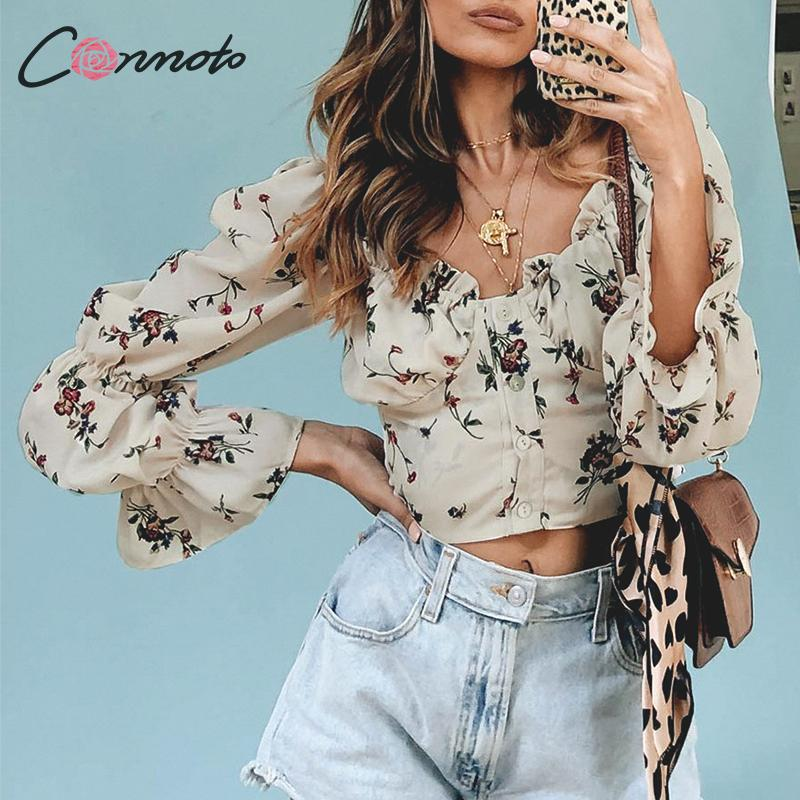 Conmoto Vintage Square Collar Floral Female   Blouse     Shirt   Puff Sleeve   Blouses   Women Beach Holiday Casual Sexy Blusa Mujer