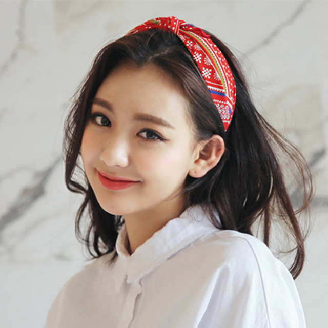 Korean New Boho Chic Head Bands Vintage Flower Polk Dot Chiffon Cloth Bow  Knot Headbands Rabbit Cat Ear Fabric Hair Bands Hoop 458cdfbdd8c