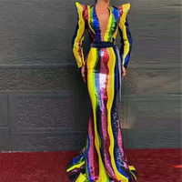 Latest Fashion Hot Selling Celebrity Women Colorful Women Sequin Long Dress Cocktail Gown Vestido Wholesale