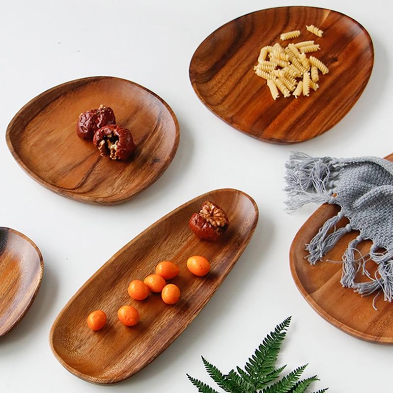 Wooden Plate Irregular Acacia Wood Plate Cake Dish Fruit Dessert Serving Platter Wood Tray Sushi Plate Small Coffee Tea Tray Wood Tableware (2)