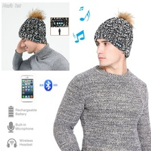c9be193824f Men Woman Wireless Bluetooth Running Cap Autumn Winter Knitted Hat With  Stereo Headphone and Mic Couple