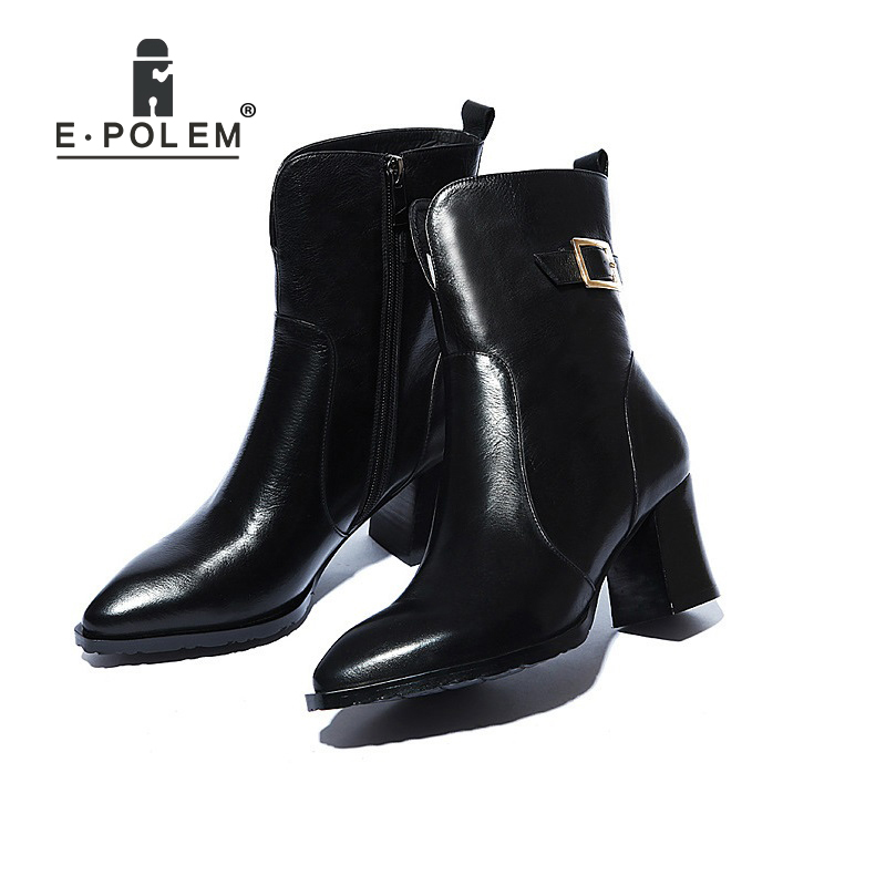 Genuine Leather Martin Boots Punk Ankle Boots Women High Heel Chelsea Boots Buckle Zipper Teenage Girl Boots Pointed Toe Shoes czrbt genuine leather boots women fashion pointed toe thick heel high heel boots spring autumn cow leather women chelsea boots
