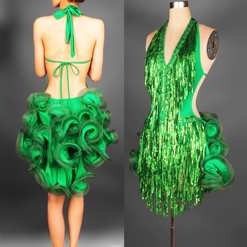 2018 offre spéciale haut à la mode femmes Lycra Spandex robe de bal personnaliser robe latine frange