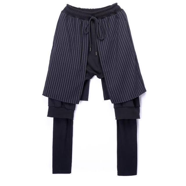 Homens Calça Casual de Três Camadas de Alta Rua Masculina Hiphop Calças Harém Calça Botas de Rock Mens Moda Calças Compridas SweatPants Basculador