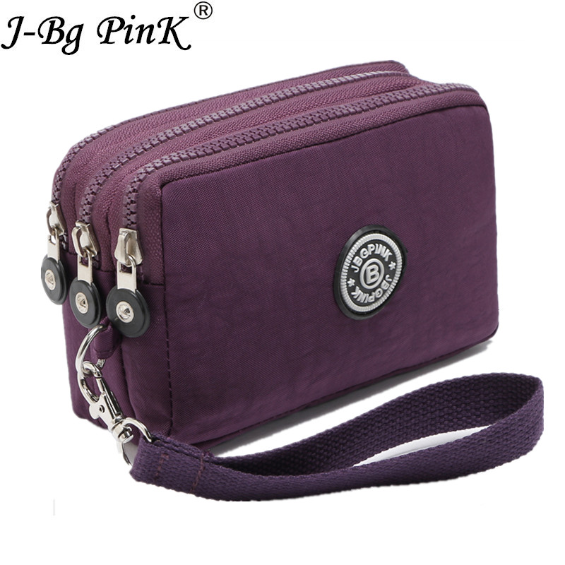 J-BG PinK Nylon Purse Double Layer Pocket With Zipper Coin Holder 2017 New Wallet <font><b>Bracelet</b></font> Clutch Slim Purse Girl Cheap Hot Sale