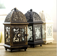 Castle Design Best Quality Candle Holder Weddings Lantern Iron Candle Holder Colorful Glass Gift House Or